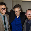 Sam Greenspan, Ira Glass and Roman Mars. KALW Ira Glass donor  reception. Kanbar Performing Arts Center, 44 Page St., San Francisco, California.
