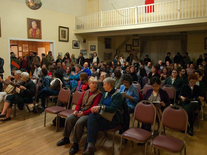 House audience at start of program. Crosscurrents Live,  KALW Mission Arts and Performance Project, MAPP, December 2011. The Polish Club, 3040-22nd St., Mission district, San Francisco, California.