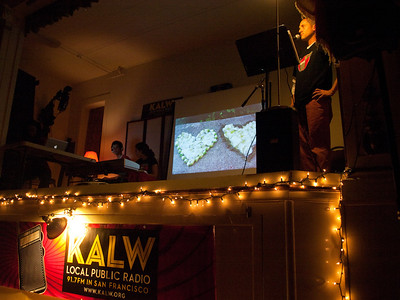 Ben Trefny on stage during Monday Hearts for Madalene segment. Crosscurrents Live, KALW Mission Arts and Performance Project, MAPP, December 2011. The Polish Club, 3040-22nd St., Mission district, San Francisco, California.