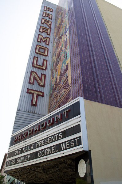 Theater marquis. KALW Presents Tavis Smiley & Cornel West, Paramount Theatre, 2025 Broadway, Oakland, California.
