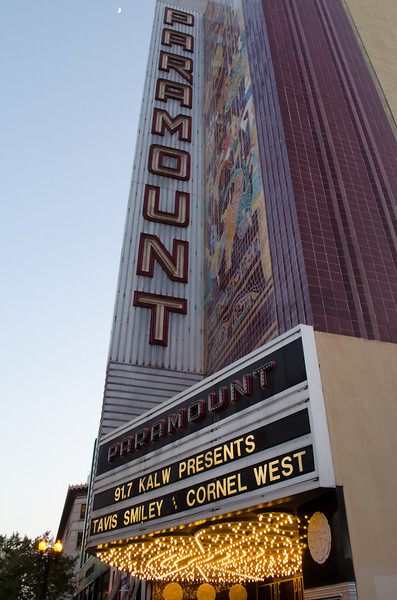 Theater marquis in evening light. KALW Presents Tavis Smiley & Cornel West, Paramount Theatre, 2025 Broadway, Oakland, California.