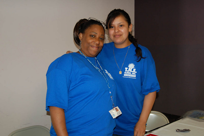 """T.H.E. Clinic, Inc. is a full service no and low cost medical clinic at 3834 S. Western Avenue.  Here,  Daunita and Maria pause for a photo.<br /> DSC_0085 Photo by Isidra Person-Lynn<br />  <a href=""""http://www.theclinicinc.org"""">http://www.theclinicinc.org</a> Photo by Isidra Person-Lynn"""