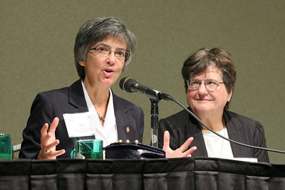 As facilitator Sister Helen Prejean, right, looks on, Mississippi United Methodist Church Bishop Hope Morgan Ward discusses how faith based communities are often too silent and they must find the courage to engage in a movement to end the death penalty. Other ministers on the panel during the Nov. 16 session included Rev. Dr. Raphael Warnock, Rev. Dr. David Gushee and Rabbi David Saperstein.  (Page 16, November 25, 2010 issue)