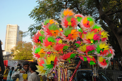 As the children's toy's paper wheels turn, so does the fortune of the investors at the BSE (Bombay Stock Exchange) as it over looks Kala Ghoda.  Vendors made brisk business at the Kala Ghoda Arts Festival held for nine days annually in February at Kala Ghoda, Mumbai. This year it was held from 7th February to 15th February 2009.