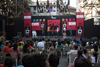 Dance and music performace at the festival.  The Kala Ghoda Arts Festival held for nine days annually in February at Kala Ghoda, Mumbai. This year it was held from 7th February to 15th February 2009.