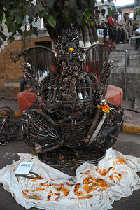 Ganeshji made from used cycle parts.  The Kala Ghoda Arts Festival held for nine days annually in February at Kala Ghoda, Mumbai. This year it was held from 7th February to 15th February 2009.