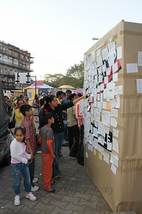 The message wall. Postcards to Pakistan. The Kala Ghoda Arts Festival held for nine days annually in February at Kala Ghoda, Mumbai. This year it was held from 7th February to 15th February 2009.