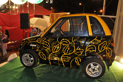 Reva electric car auctioned at Kala Ghoda Arts Festival 2008 held annually in February at Kala Ghoda, Mumbai, MH, India.