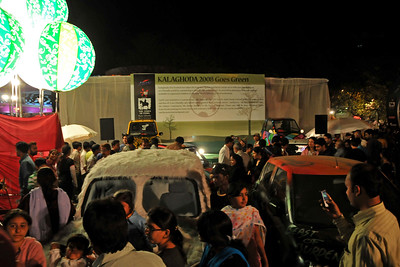 Kalaghoda goes green. Reva cars on display. Kala Ghoda Arts Festival 2008 held annually in February at Kala Ghoda, Mumbai, MH, India.