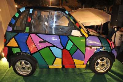 Reva electric car designed by Hafeez Contractor. Kala Ghoda Arts Festival 2008 held annually in February at Kala Ghoda, Mumbai, MH, India.