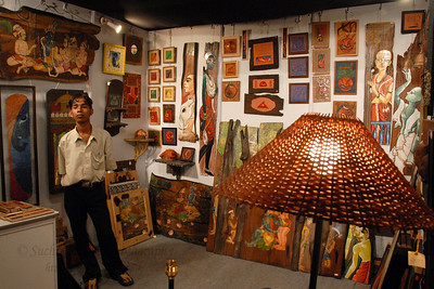 Visitors to the various NGO & sales stalls at the Kala Ghoda Arts Festival, Feb 2007