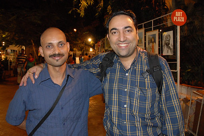 Our artist friend Ramesh Thorat with Suchit near Jehangir Art Gallery at the Kala Ghoda Arts Festival, Feb 2007. Thanks Anu for the picture