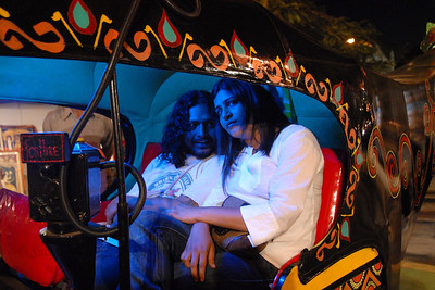 Creative autorickshaw being tried out by visitors to Kala Ghoda Arts Festival, Feb 2007