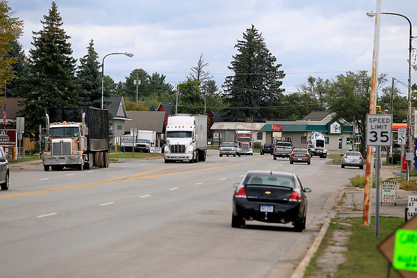 """Record-Eagle/Jan-Michael Stump<br /> Four lanes of U.S. 131 runs through the center of Kalkaska, bringing around 19,000 cars and trucks a day """"The sheer number of cars that go through here would make anyone a millionaire, if you can just get them to stop,"""" said Village Brownfield Redevelopment Authority Chair Mark Avery."""