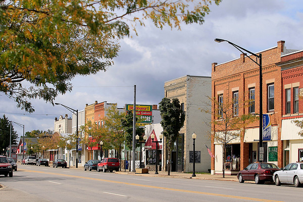 """Record-Eagle/Jan-Michael Stump<br /> """"It's the postcard image in everybody's head,"""" Kalkaska Village President Jeff Sieting said of the west side of the 300 block of Cedar Street, which has 18 vacancies."""