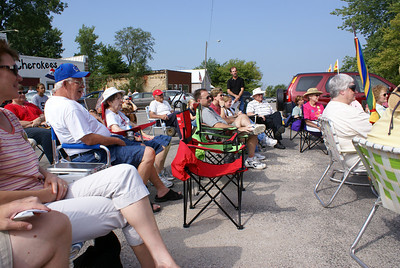 Kansas Explorers and local people gathered on Main Street to hear the stories