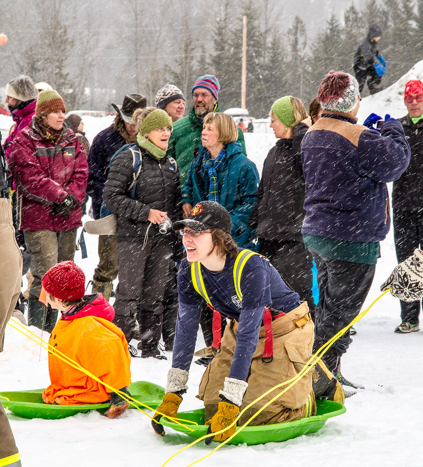 teams get ready for the Human dogsled races