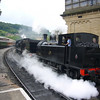 June 2009. Keighley and Worth Valley Railway gala weekend. A double-header steams in.