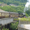 June 2009. Keighley and Worth Valley Railway gala weekend. Climbing the steep, curving gradient out of Keighley.
