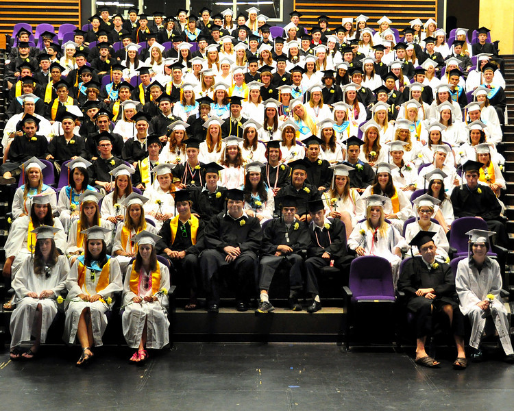 The Kennett High School Graduating Class of 2010 got together before commencement exercises in Gary Millen Stadium, to pose for a class photograph, on Saturday, June 19th, 2010.