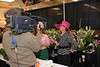 Cindy Sullivan from WHAS during the making of the Kentucky Oaks Garland