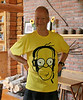 David wearing a tee shirt with his own image on it...<br /> <br /> how vain is that?!?!