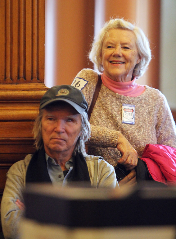 . Daylong reading of Jack Kerouac\'s On the Road begins at Pollard Memorial Library. Bill Walsh of Lowell, who was going to be reading later at Z Gallery, and Jacquelyn Malone of Lowell, who was going to read at the Library.(SUN/Julia Malakie)