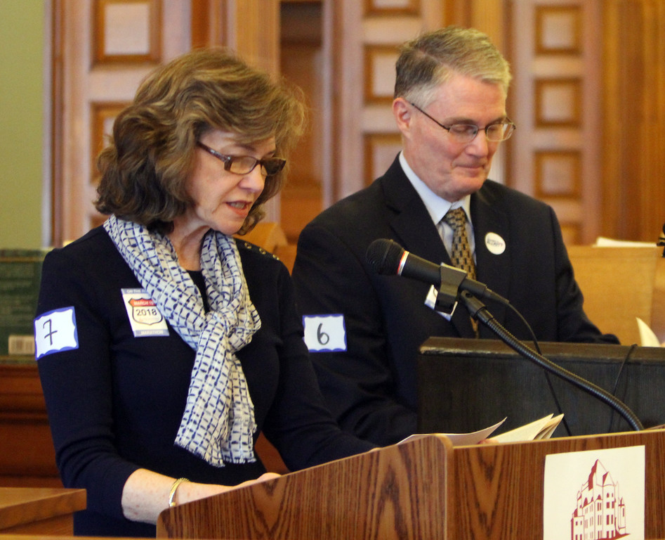 . Daylongollard Memo reading of Jack Kerouac\'s On the Road begins at Pollard Memorial Library. Readers Donna Richards, chair of Pollard Memorial Library Foundation, and city councilor Rodney Elliott. (SUN/Julia Malakie)