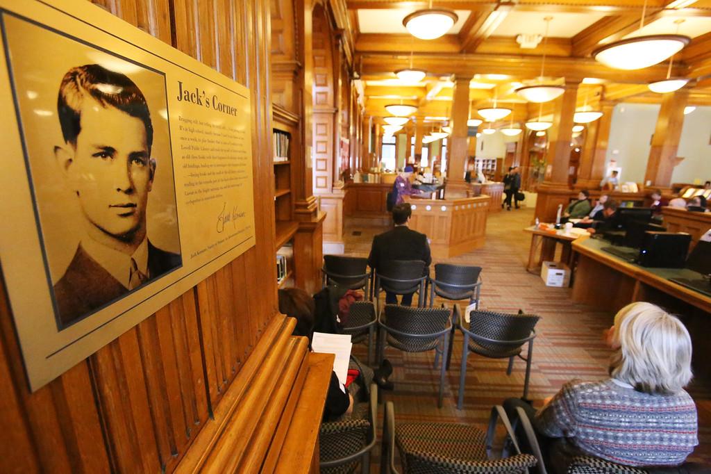 . Daylong reading of Jack Kerouac\'s On the Road begins at Pollard Memorial Library. (SUN/Julia Malakie)