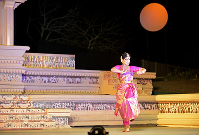 "Bharatnatyam dancer Geeta Chandran Founder, President, NATYA VRIKSHA, New Delhi at the Khajuraho Festival of Dances.  This festival is celebrated at a time when the hardness of winter begins to fade and the king of all seasons, spring, takes over. The most colorful and brilliant classical dance forms of india with their roots in the ling and rich cultural traditions across the country, offer a feast for the eyes during a weeklong extravaganza.  Khajuraho is located in the Indian state of Madhya Pradesh and roughly 620 kilometers (385 miles) southeast of New Delhi, the temples of Khajuraho are famous for their so-called ""erotic sculptures"". Khajuraho was the cultural capital of the Chandela Rajputs, a Hindu dynasty that ruled from the 10th to 12th centuries."