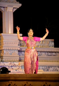 """Bharatnatyam dancer Geeta Chandran Founder, President, NATYA VRIKSHA, New Delhi at the Khajuraho Festival of Dances.  This festival is celebrated at a time when the hardness of winter begins to fade and the king of all seasons, spring, takes over. The most colorful and brilliant classical dance forms of india with their roots in the ling and rich cultural traditions across the country, offer a feast for the eyes during a weeklong extravaganza.  Khajuraho is located in the Indian state of Madhya Pradesh and roughly 620 kilometers (385 miles) southeast of New Delhi, the temples of Khajuraho are famous for their so-called """"erotic sculptures"""". Khajuraho was the cultural capital of the Chandela Rajputs, a Hindu dynasty that ruled from the 10th to 12th centuries."""