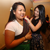 Khmer New Year's celebration at UMass Lowell's University Crossing.  UML sophomores Kendra Kim, left, and Monica Soth, both of Lowell. (SUN/Julia Malakie)