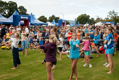 Weetbix Kids Tryathlon, 2012, Tauranga's  Memorial Park. Kids warming up for the event. ALSO SEE; http://www.blurb.com/b/3811392-tauranga