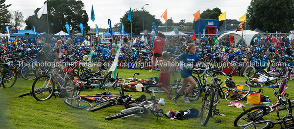 Weetbix Kids Tryathlon, 2012,Tauranga's  Memorial Park. Cycle transition station. ALSO SEE; http://www.blurb.com/b/3811392-tauranga