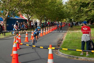 Weetbix Kids Tryathlon, 2012, Tauranga, contestants start the cycle leg. Tauranga's  Memorial Park. ALSO SEE; http://www.blurb.com/b/3811392-tauranga