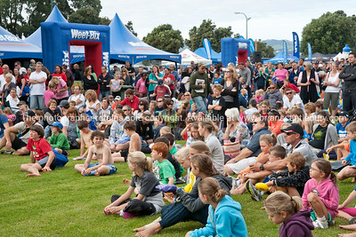 Weetbix Kids Tryathlon, 2012, Tauranga's  Memorial Park. Kids listening to pre-event briefing. ALSO SEE; http://www.blurb.com/b/3811392-tauranga
