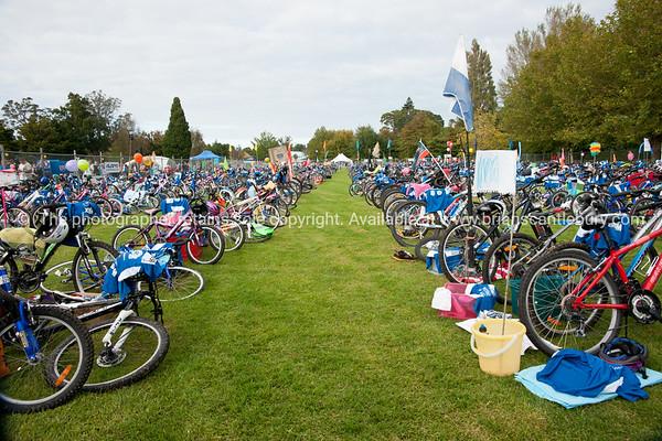 "Weetbix Kids Tryathlon, 2012,Tauranga's  Memorial Park. Bicycles in the bike transition area. ALSO SEE; <a href=""http://www.blurb.com/b/3811392-tauranga"">http://www.blurb.com/b/3811392-tauranga</a>"