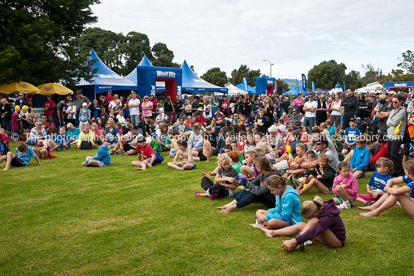"Weetbix Kids Tryathlon, 2012, Tauranga's  Memorial Park. Kids listening to pre-event briefing.<br /> <br />  ALSO SEE; <a href=""http://www.blurb.com/b/3811392-tauranga"">http://www.blurb.com/b/3811392-tauranga</a>"