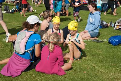 Weetbix Tryathlon at Tauranga's  Memorial Park. Contestants wait foe their start call. ALSO SEE; http://www.blurb.com/b/3811392-tauranga