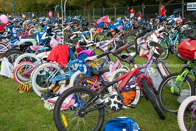 Weetbix Kids Tryathlon, 2012, Tauranga's  Memorial Park. Bicycles in the bike transition area. ALSO SEE; http://www.blurb.com/b/3811392-tauranga
