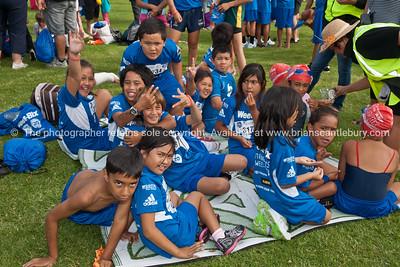 Weetbix Kids tryathalon, group in contestants tee shirts awaiting start call. Tauranga's  Memorial Park. ALSO SEE; http://www.blurb.com/b/3811392-tauranga