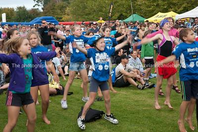 Weetbix Kids Tryathlon, 2012, Tauranga's  Memorial Park. Kids pre-event warm-up exercises. ALSO SEE; http://www.blurb.com/b/3811392-tauranga