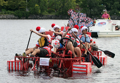 3rd annual Kinetic Sculpture Race entries enter the Merrimack River at the boat ramp and exit at Rynne Beach. Where's Waldo? approaches the beach. (SUN/Julia Malakie)