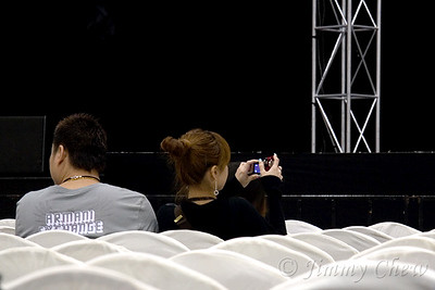 """Camera is allowed but with no flash when shooting. The ushers will come and 'talk' to  them if a flash is spotted. Video cam is a """"no no"""" during concert."""