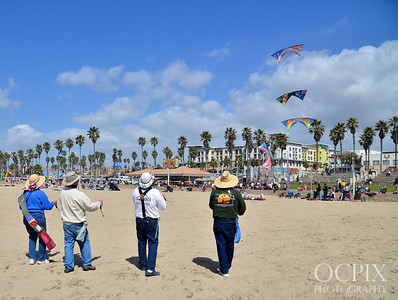 Flying kites in Huntington Beach