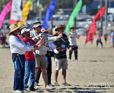 Large group of kite flyers in Huntington Beach - 2014