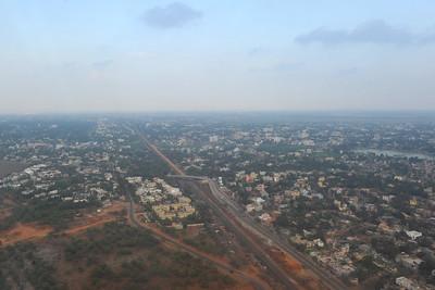 Airport and ariel view of Bhubaneshwar, Orissa, India.