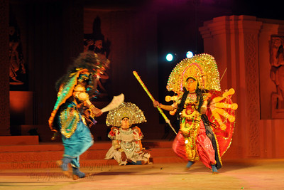 Chhow Dance by Purulia, West Bengal.  The Konark Dance & Music Festival 2011 held from February, 19th to 23rd, organized by Konark Natya Mandap. The festival takes place in an open-air auditorium and enlivens the spirit of the sculptures of Konark temple which is just a short distance away.  The objectives of the Konark Natya Mandap are to preserve, promote, and project the rich cultural heritage of Orissa and to infuse cultural awareness in the minds of all. Started with painstaking efforts of internationally renowned Odissi dance teacher Guru Gangadhar Pradhan who unfortunately passed away last year. For more details on the festival see  http://www.konarknatyamandap.org/ and http://konarkfestival.com/
