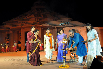 Iinaugural programme by lighting the lamps. The Konark Dance & Music Festival 2011 held from February, 19th to 23rd, organized by Konark Natya Mandap. The festival takes place in an open-air auditorium and enlivens the spirit of the sculptures of Konark temple which is just a short distance away.  The objectives of the Konark Natya Mandap are to preserve, promote, and project the rich cultural heritage of Orissa and to infuse cultural awareness in the minds of all. Started with painstaking efforts of internationally renowned Odissi dance teacher Guru Gangadhar Pradhan who unfortunately passed away last year. For more details on the festival see  http://www.konarknatyamandap.org/