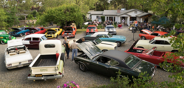 Kool April Nites Party at Rick and Lori Goynes, featuring classic cars and the people who enjoy them.